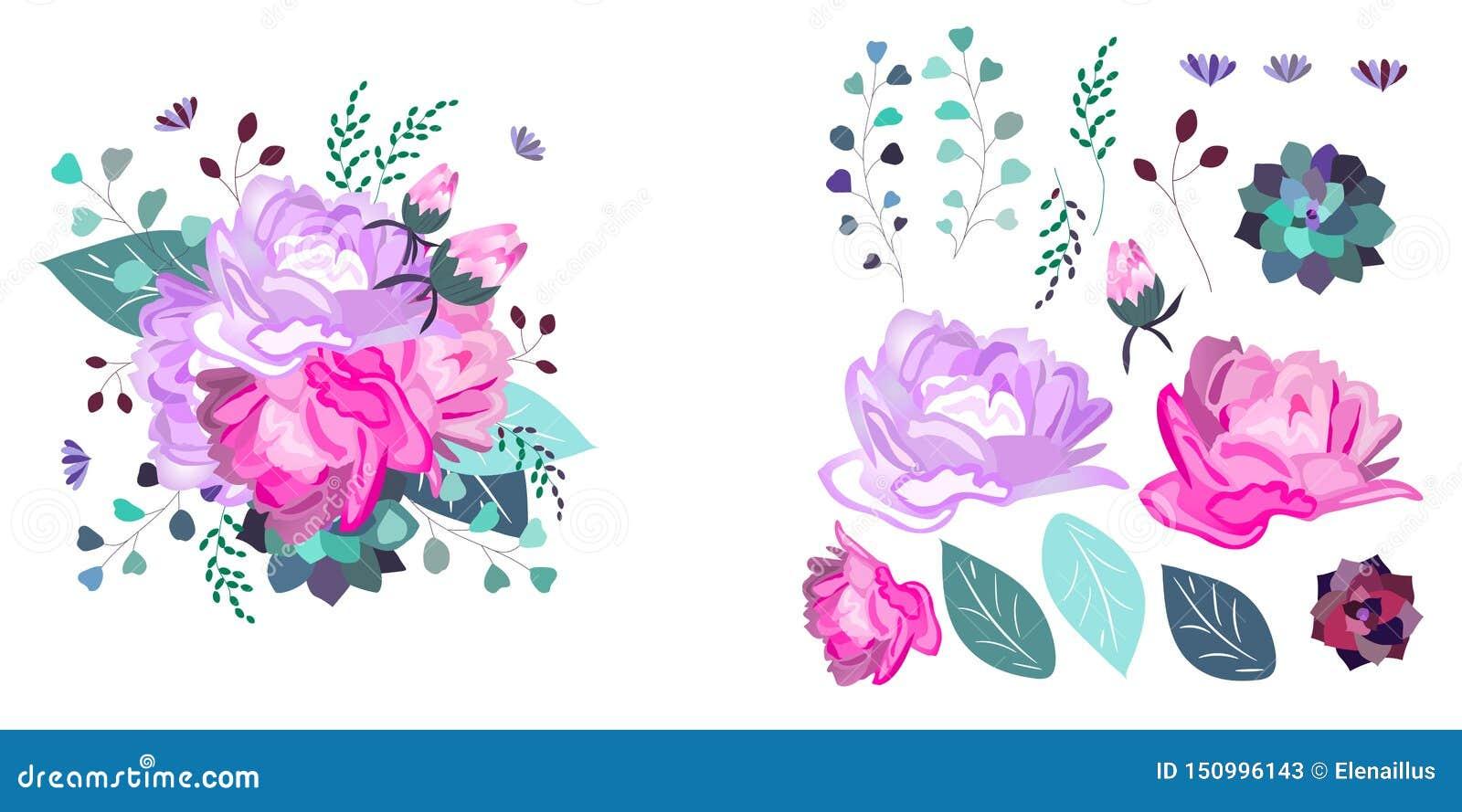 Vector bloemensamenstelling en geïsoleerde voorwerpen De zomer, de lente, vieringsontwerp