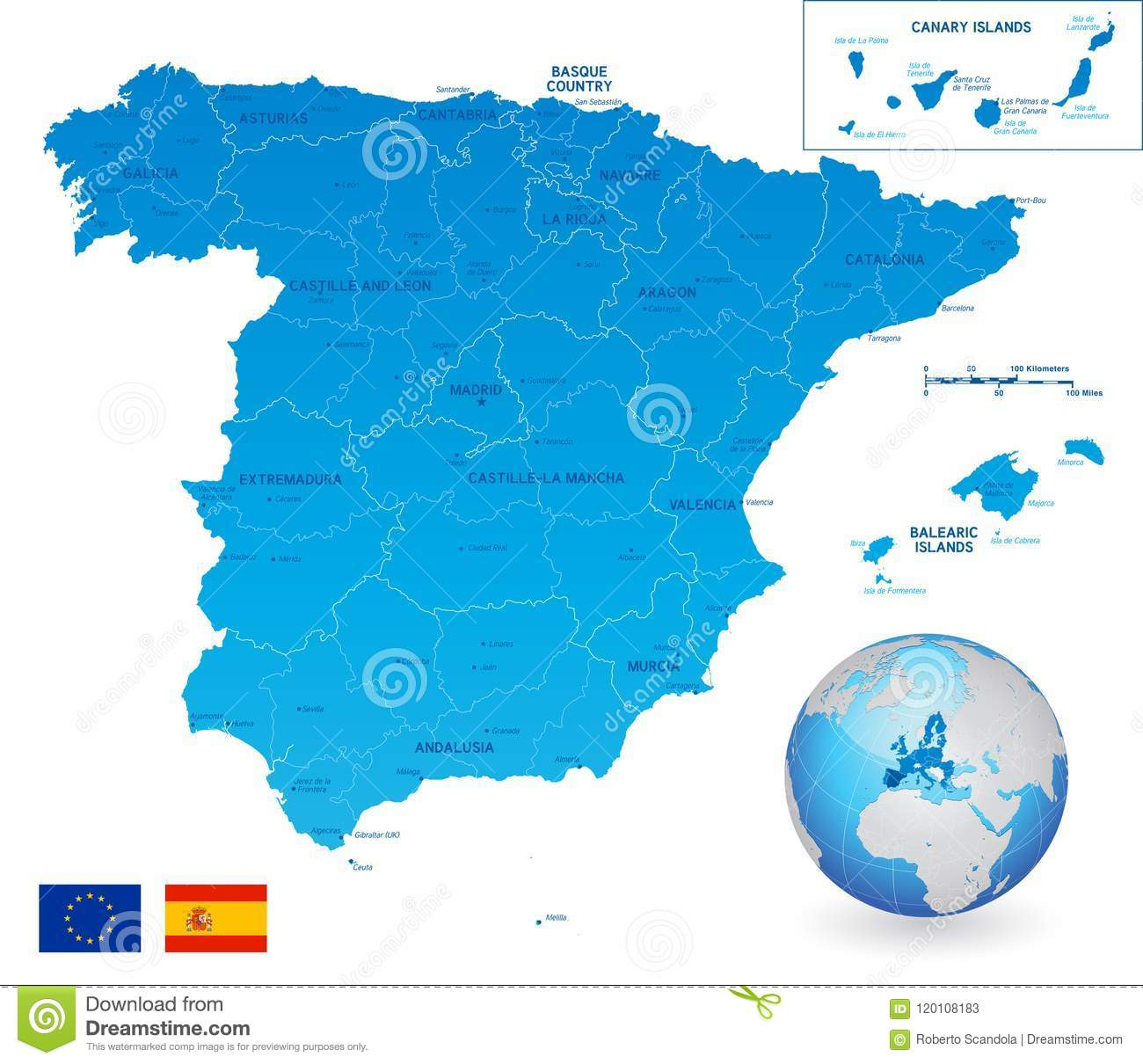 Full Map Of Spain.Vector Blue Administrative Map Of Spain Stock Vector Illustration