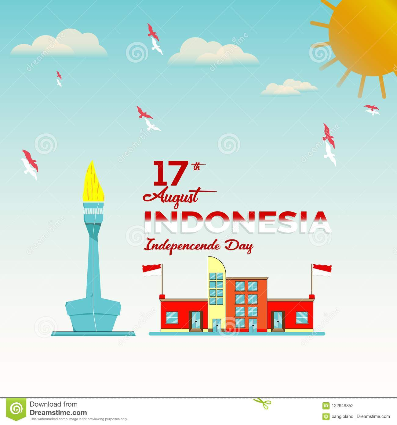 Vector blue background color design, Illustration of Indonesia Icons and landmarks.