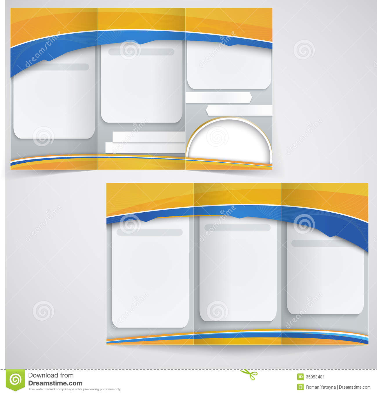 Vector Blue Brochure Layout Design With Yellow Ele Stock Image - Free downloadable brochure templates