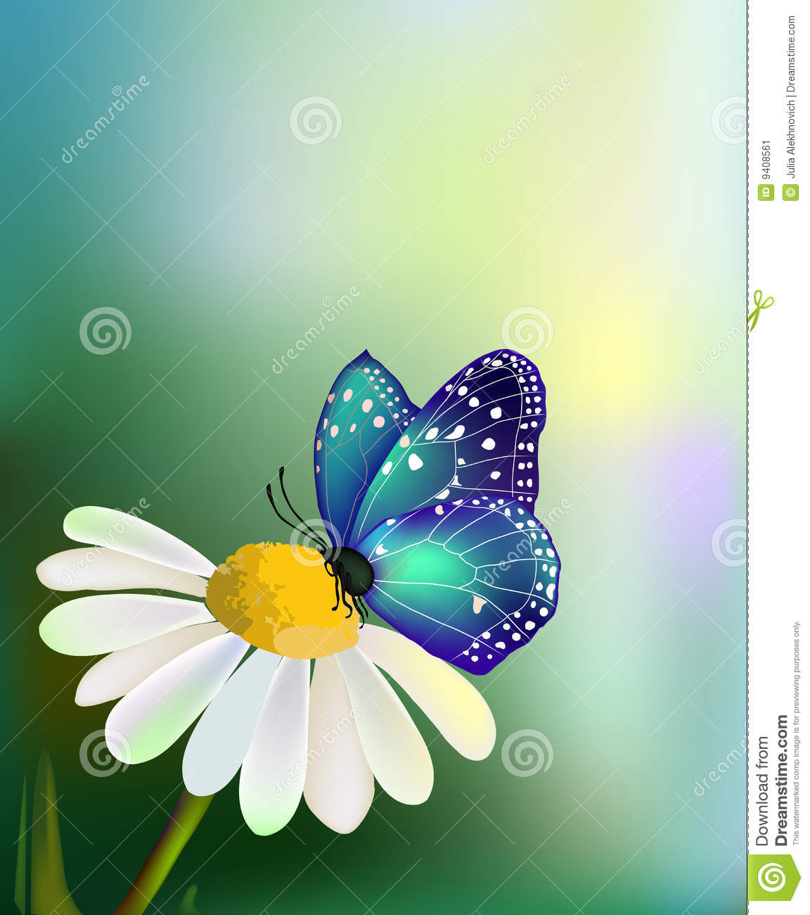 Vector Blue Butterfly On The Daisy-flower Stock Image - Image: 9408561