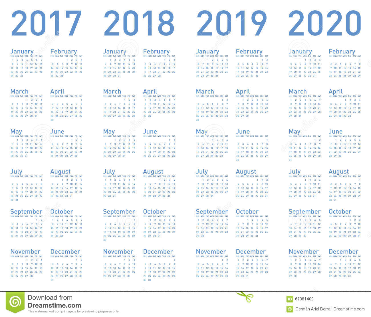 vector blue calendar for years 2017 2018 2019 and 2020 stock