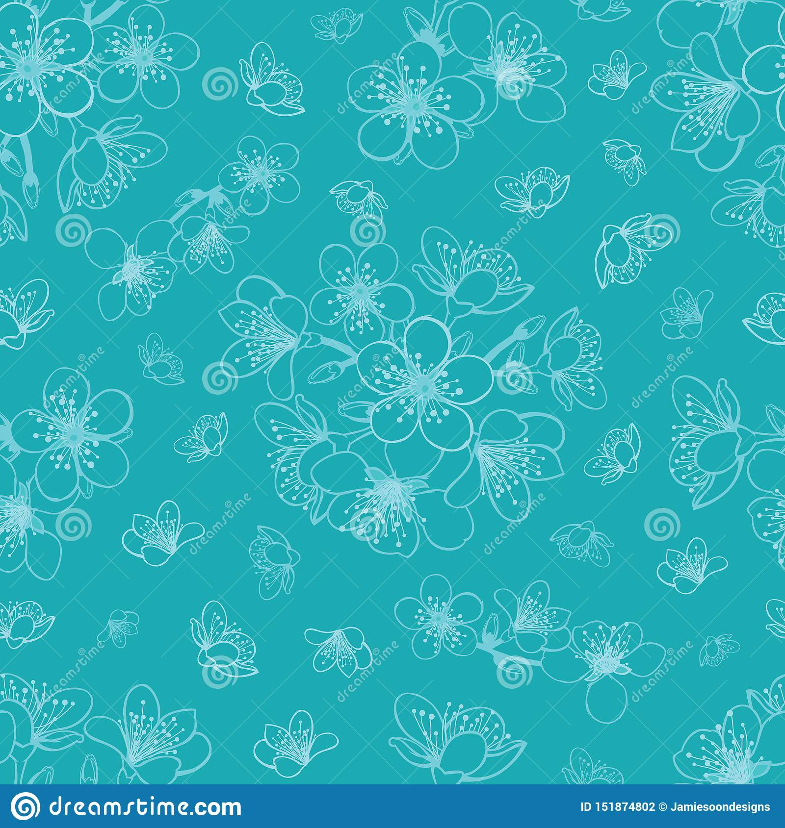 Vector blue cyan cherry blossom sakura flowers seamless pattern background