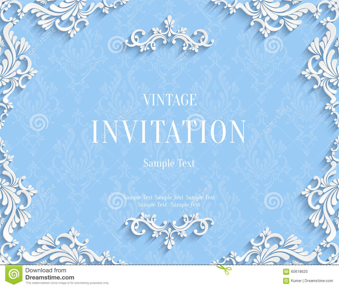 Vector Blue 3d Vintage Invitation Card With Floral Damask Pattern Stock Vector