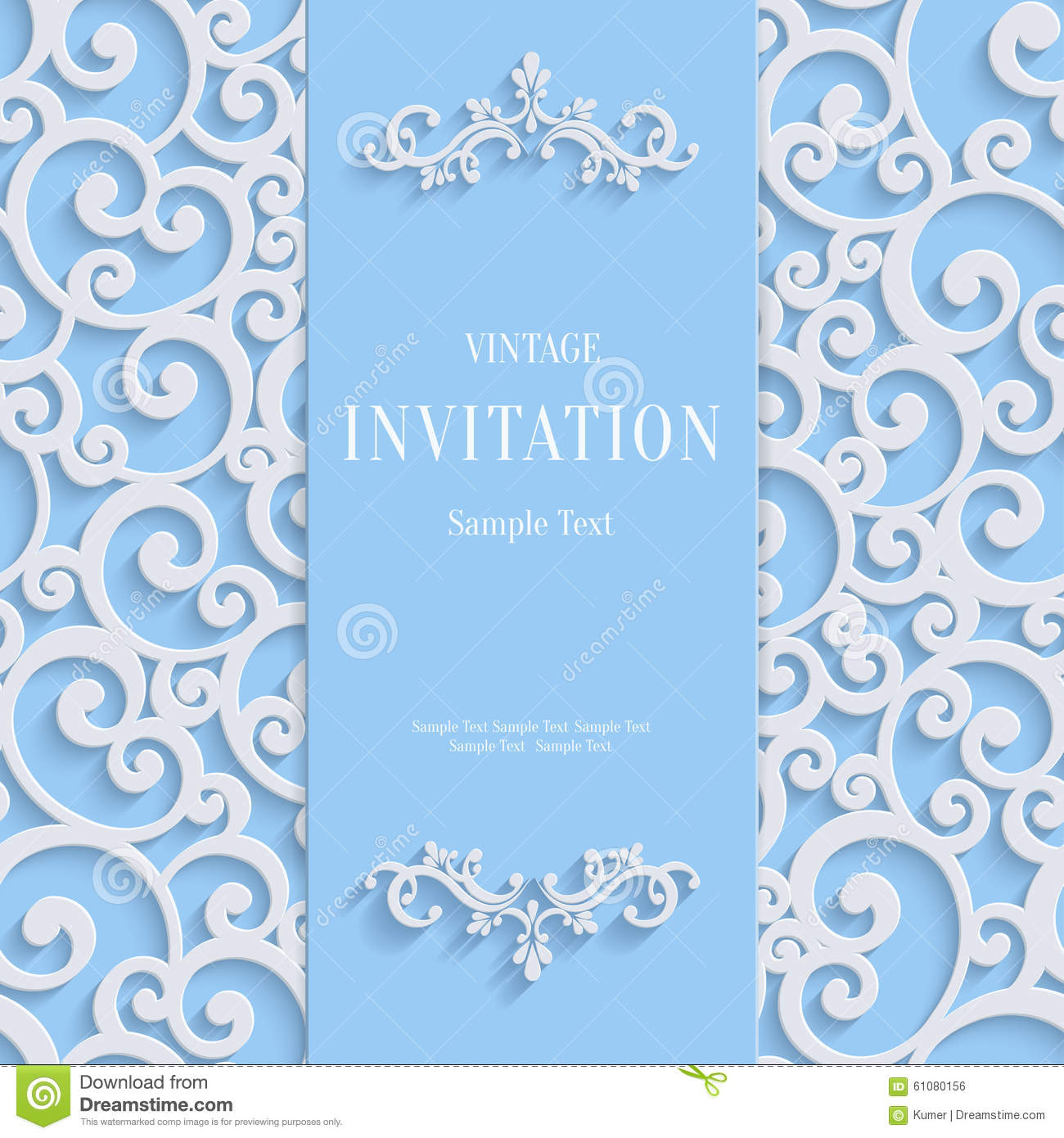 Vector Blue 3d Vintage Invitation Card With Swirl Damask ...