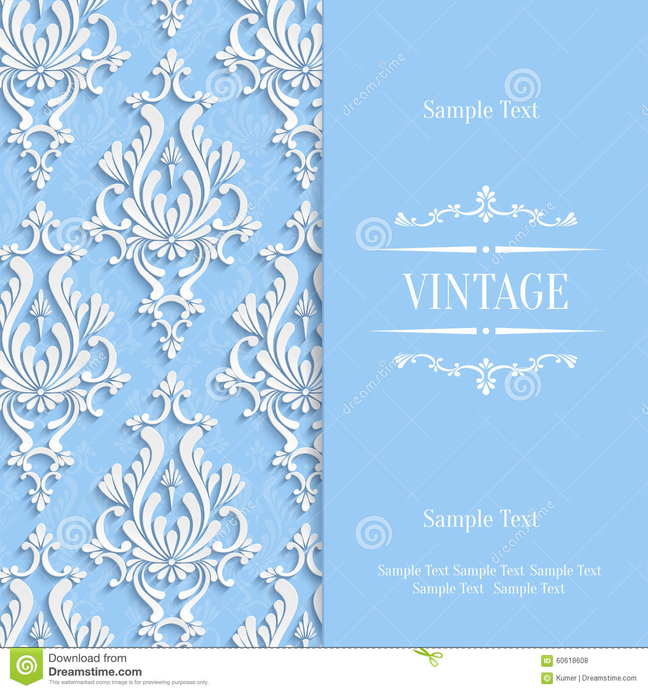 vector blue d vintage invitation card template with floral damask, invitation samples