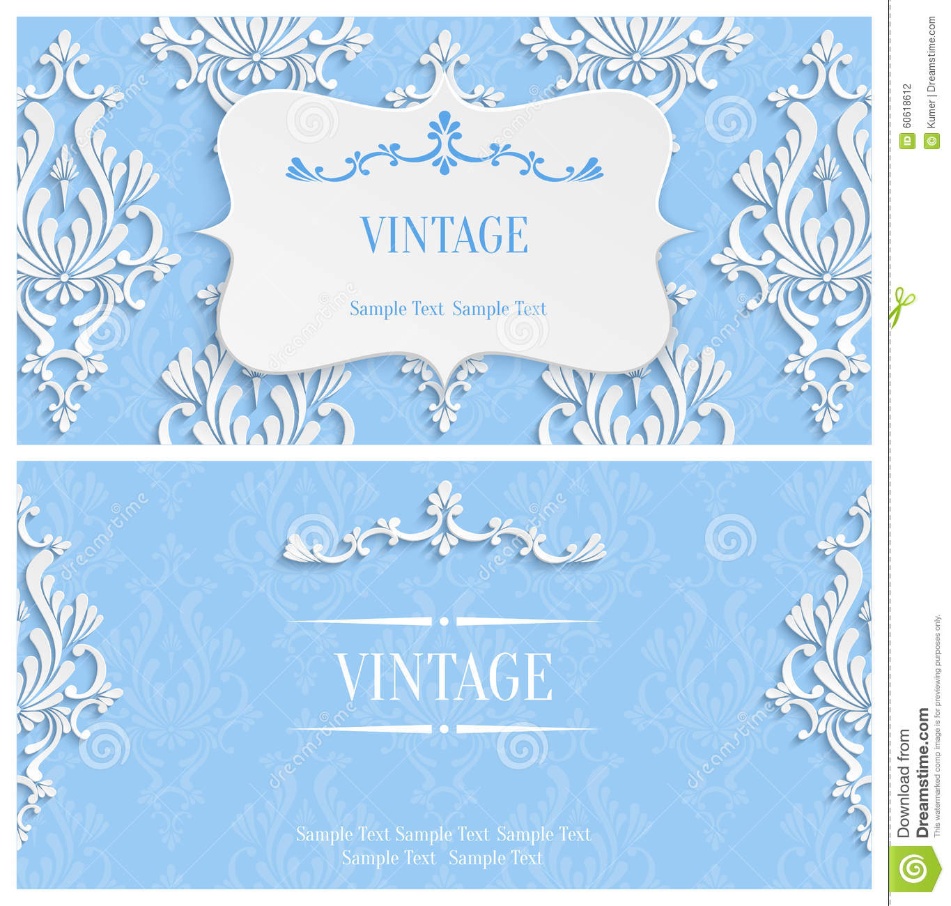vector blue d vintage invitation template with floral damask, invitation samples