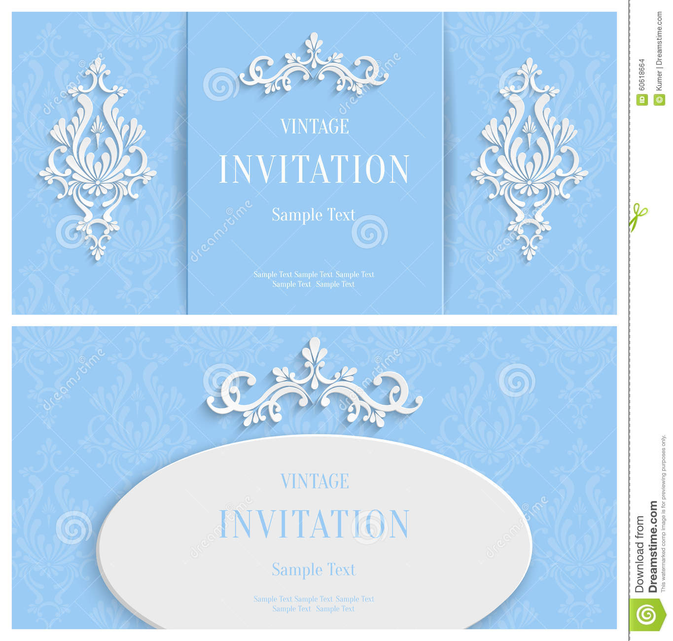 Vector White Floral 3d Background Template For Christmas And Invitation Cards Vector