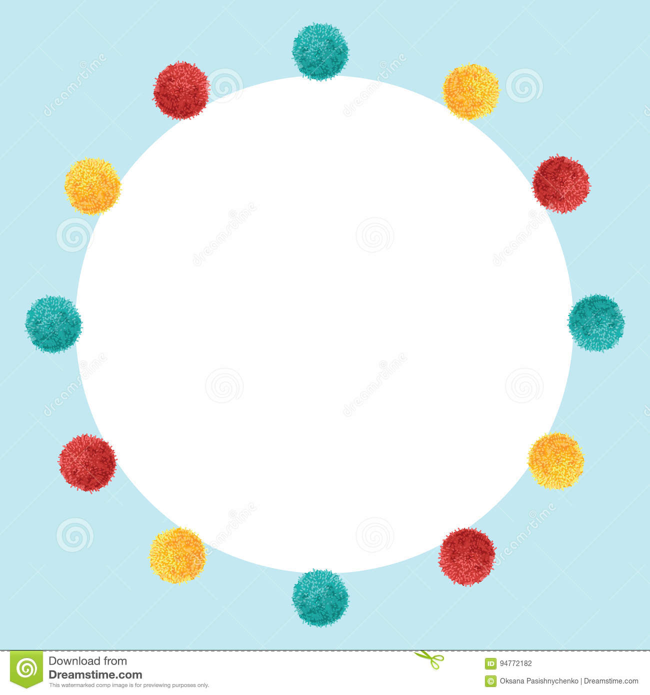 Vector Blue Frame Vibrant Birthday Party Pom Poms Circle Set And ...