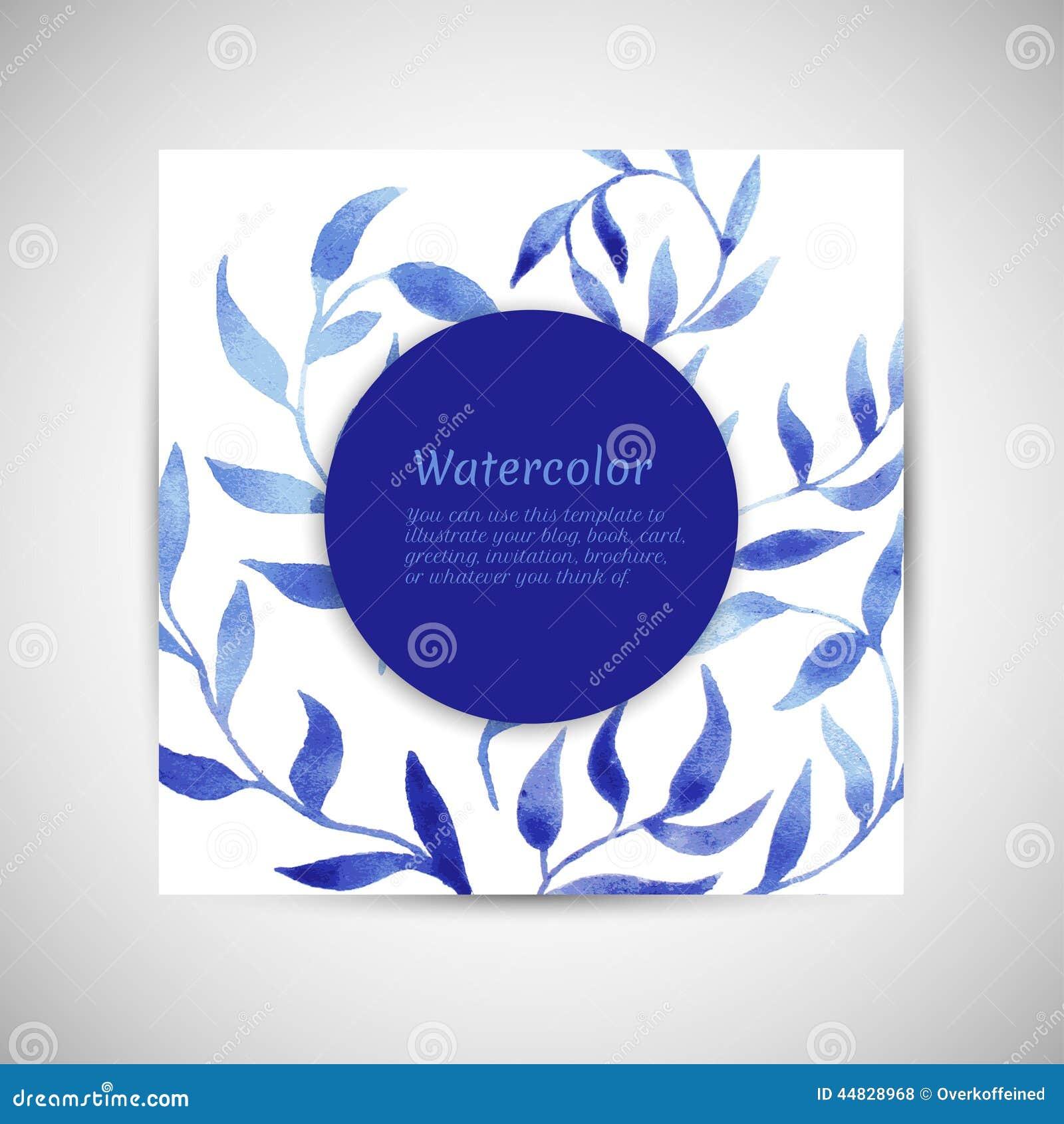 Vector Blue Gzhel Watercolor Leaf Pattern Template
