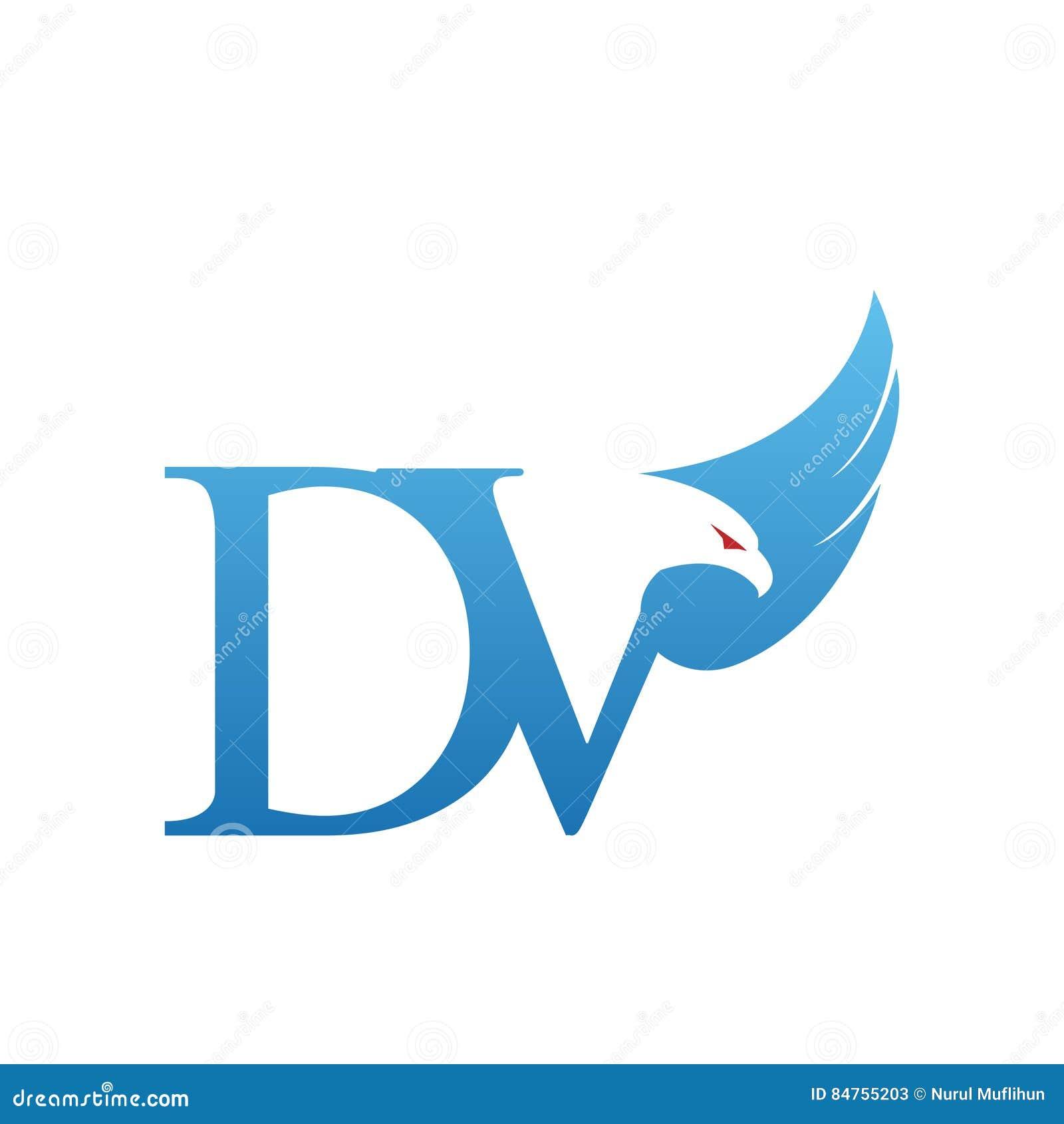 vector blue hawk initial dv logo stock illustration illustration