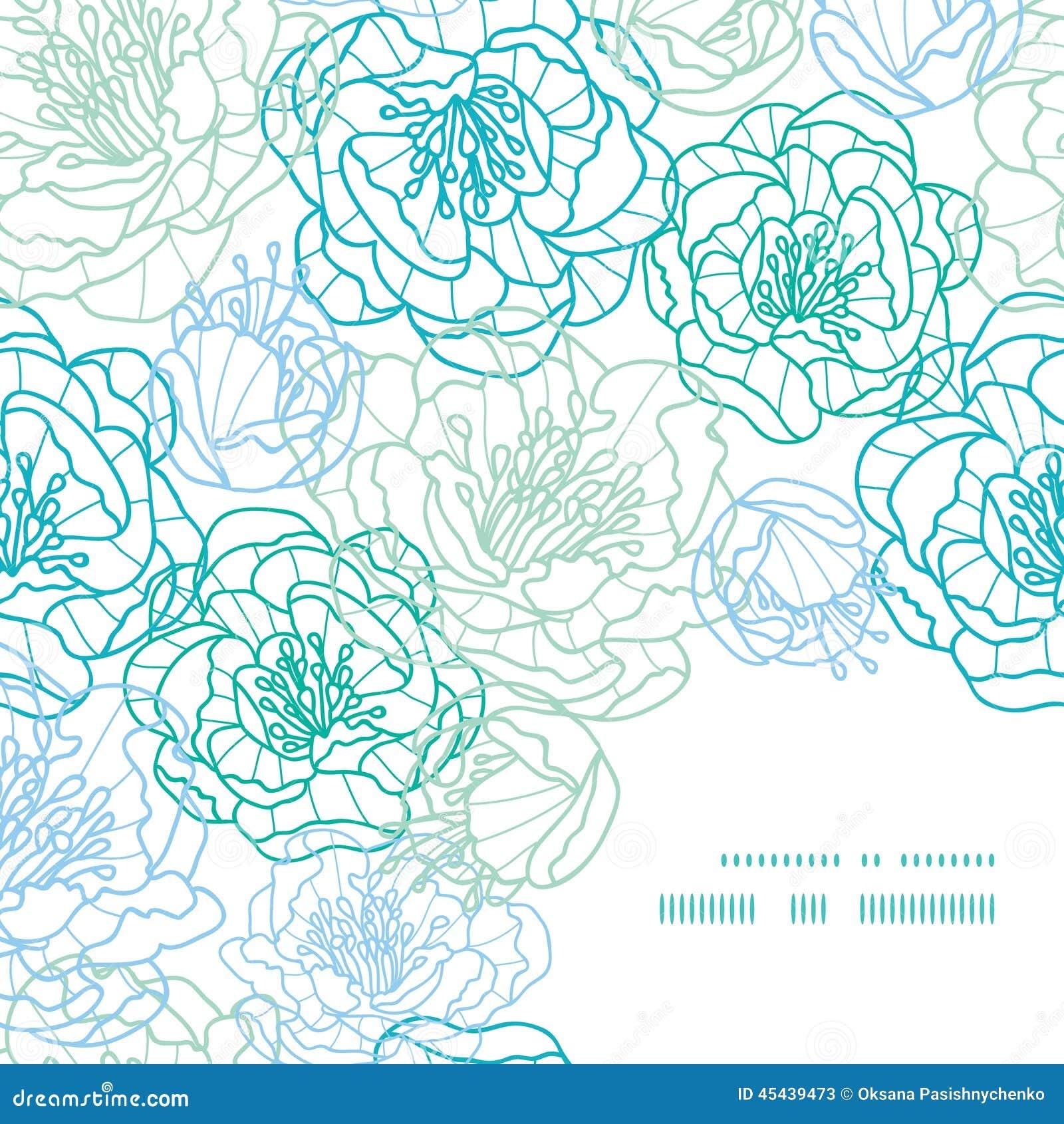 Line Art Corner Design : Vector blue line art flowers frame corner pattern stock