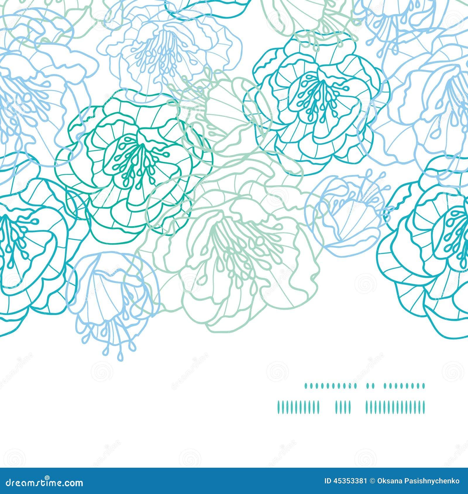 Line Art Design Background : Vector blue line art flowers horizontal frame stock