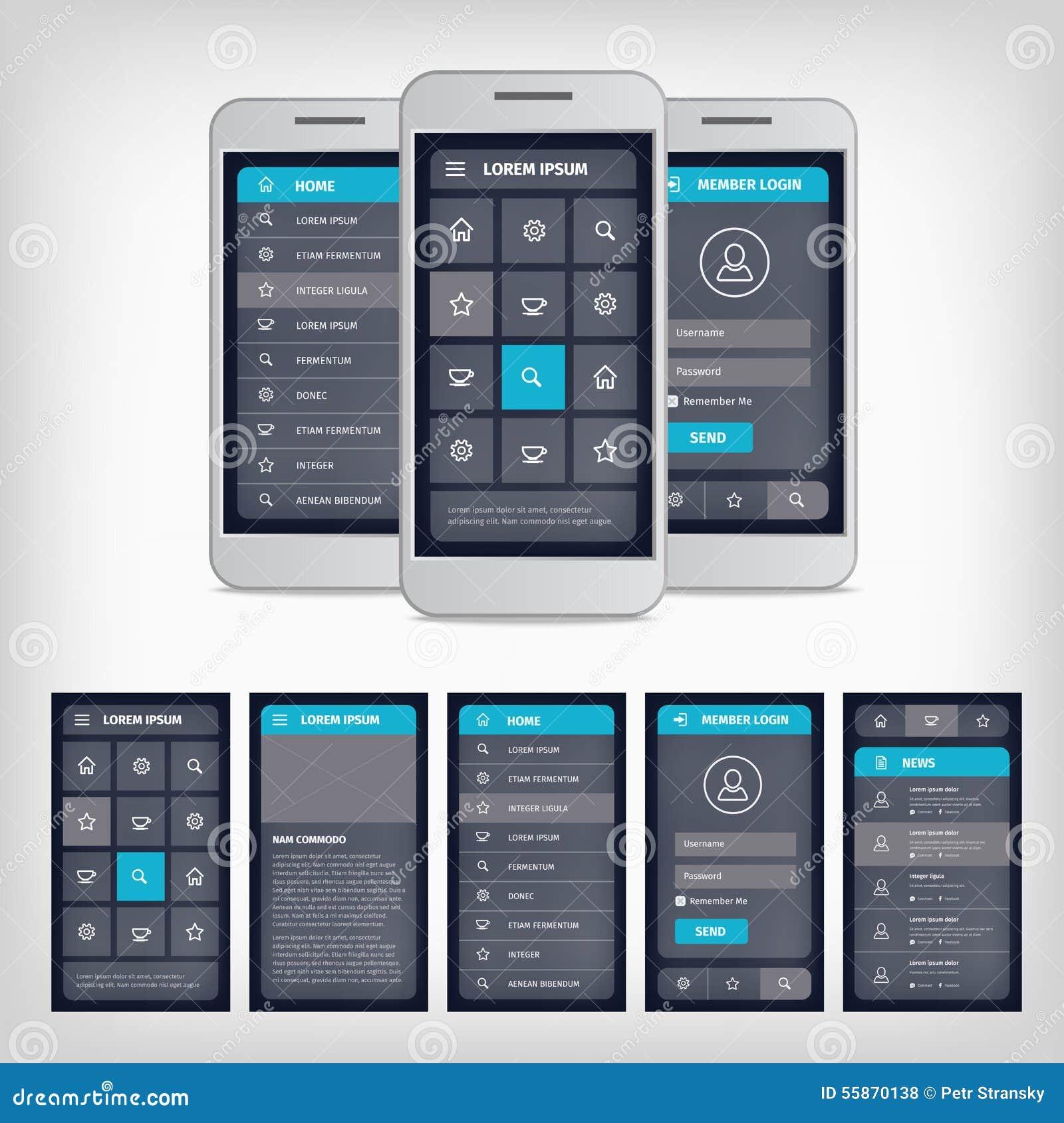 Vector Blue Mobile User Interface Stock Vector