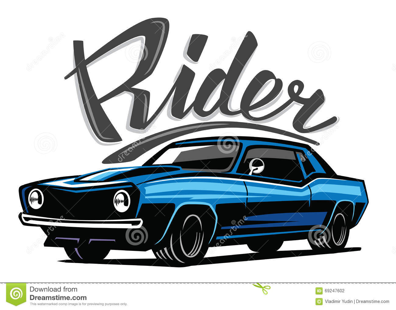 Vector Blue Muscle Car Stock Vector Image