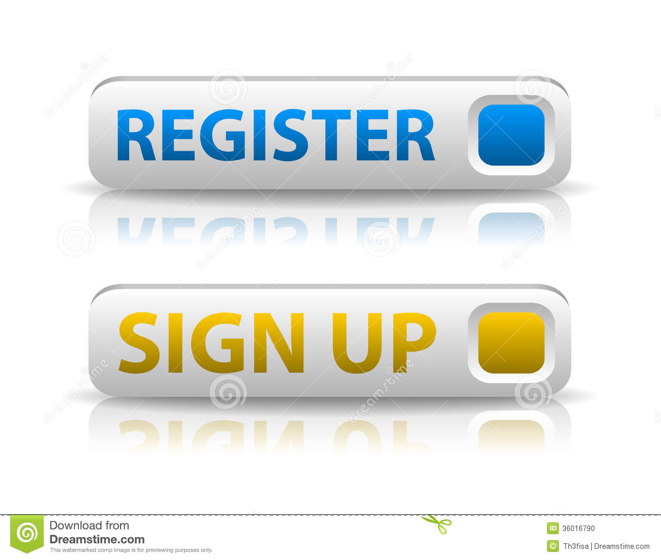 Vector Blue Register And Yellow Sign Up Button Stock ...