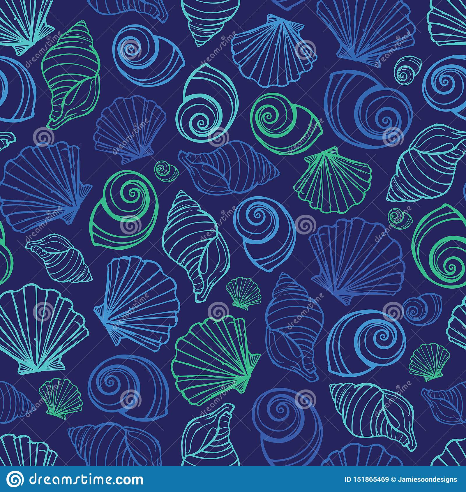 Vector blue seashells repeat pattern. Suitable for gift wrap, textile and wallpaper