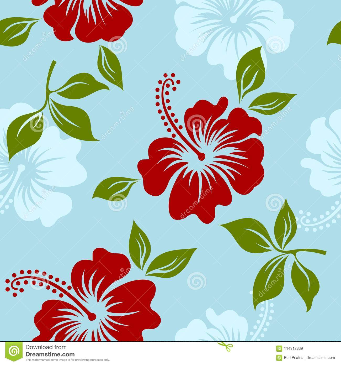 Vector Blue Tropical Summer Hawaiian Seamless Pattern With Tropical