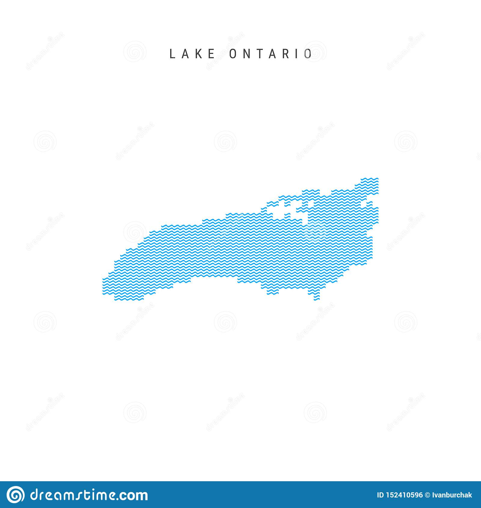 Vector Blue Wave Pattern Map Of Lake Ontario. Wavy Line ...