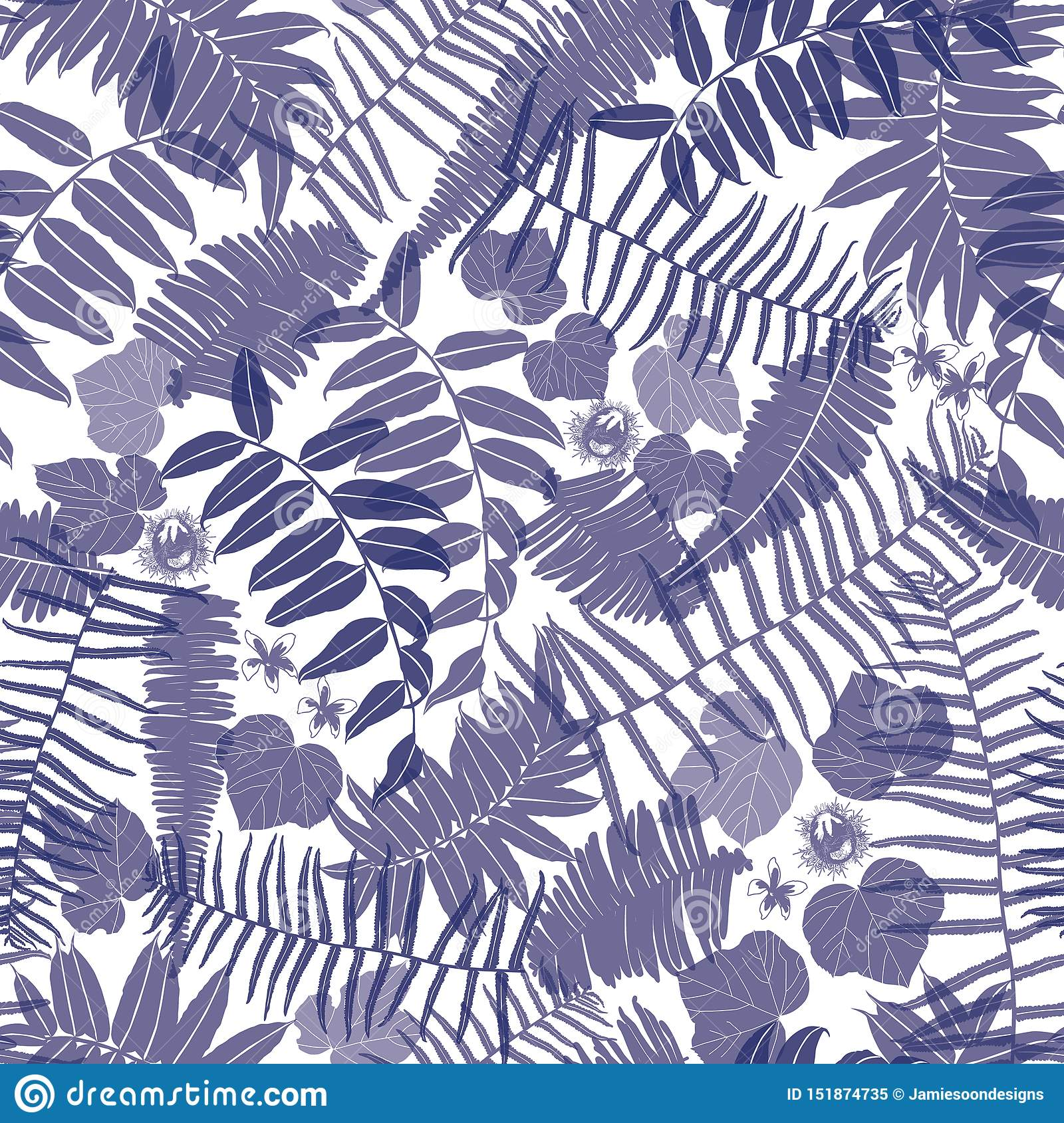 Vector blue and white seamless pattern with transparent ferns, leaves and wild flower. Suitable for textile, gift wrap and