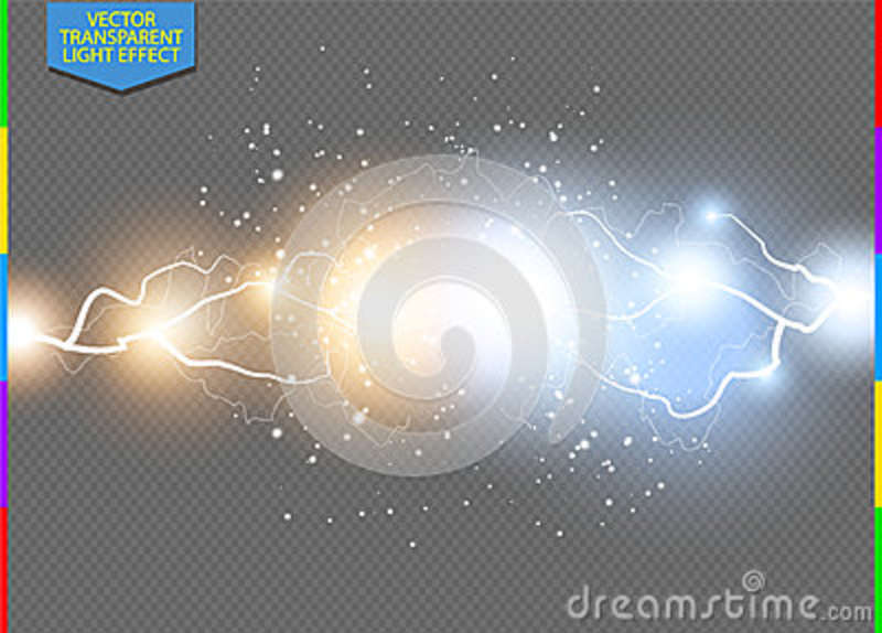 34e48e4c Bright light flare and sparks on transparent background. Hot and cold power