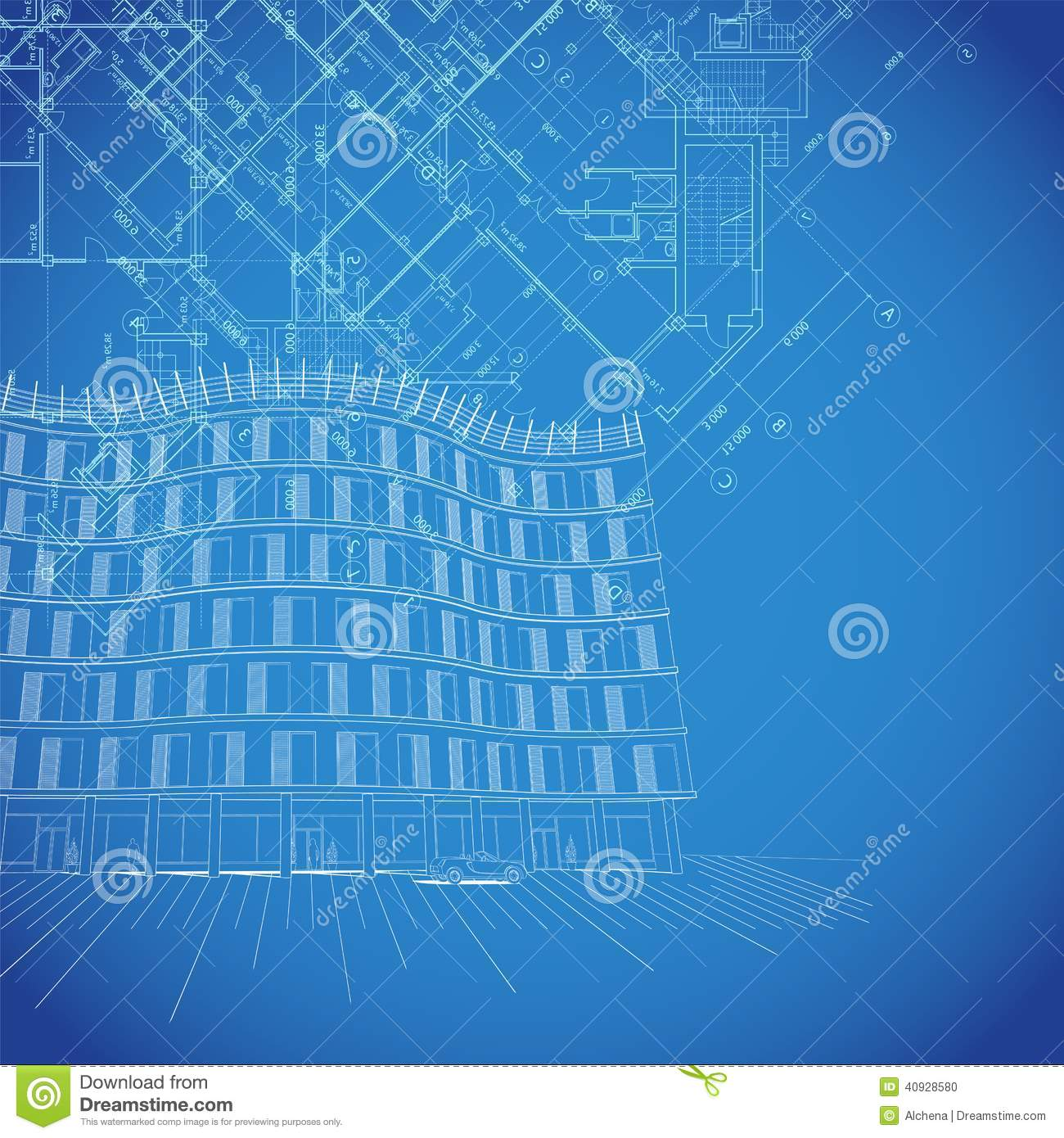Vector Blueprint Background With Building Plans Stock