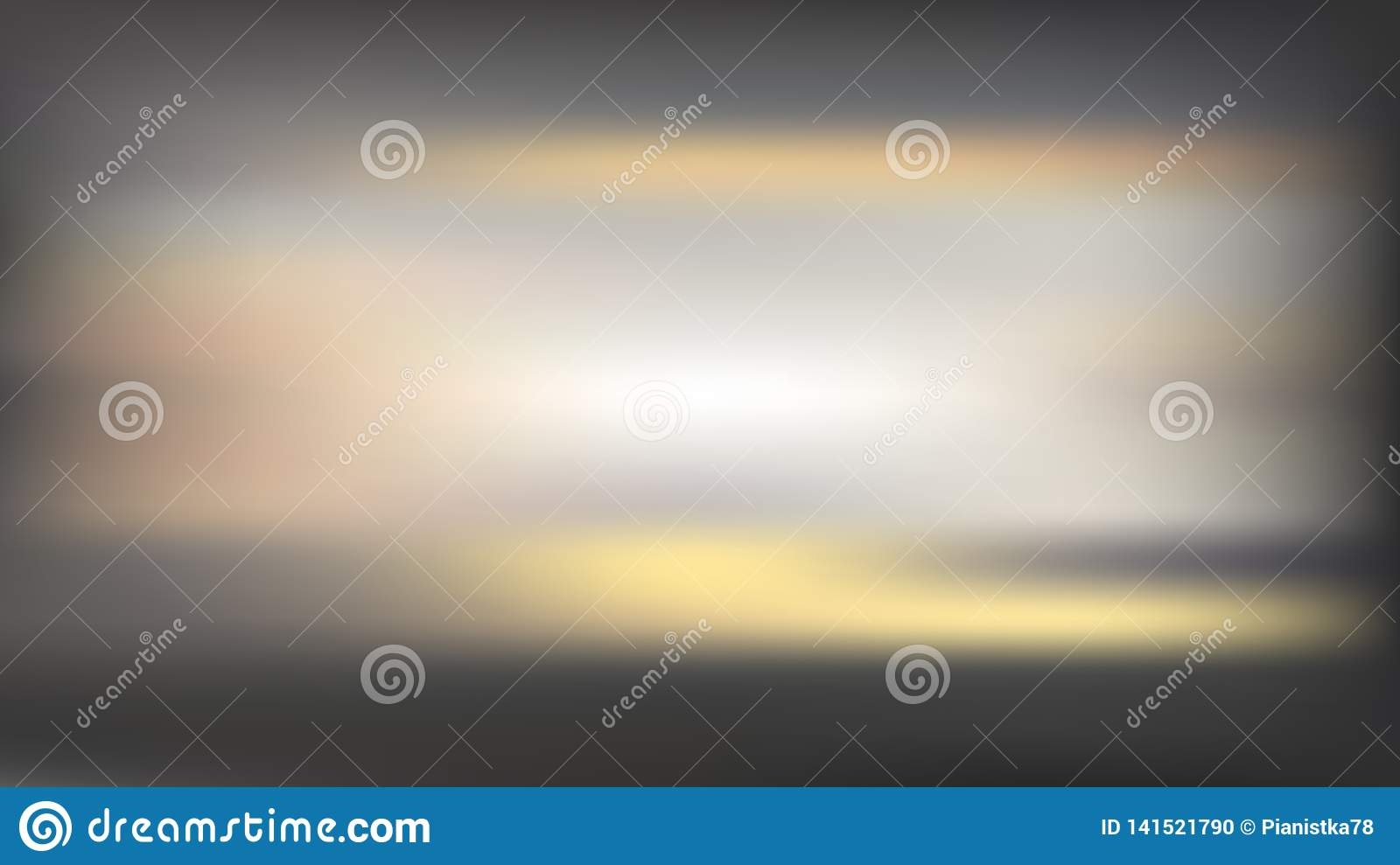 Vector blur baclkground with horizontal golden lines. Sunset