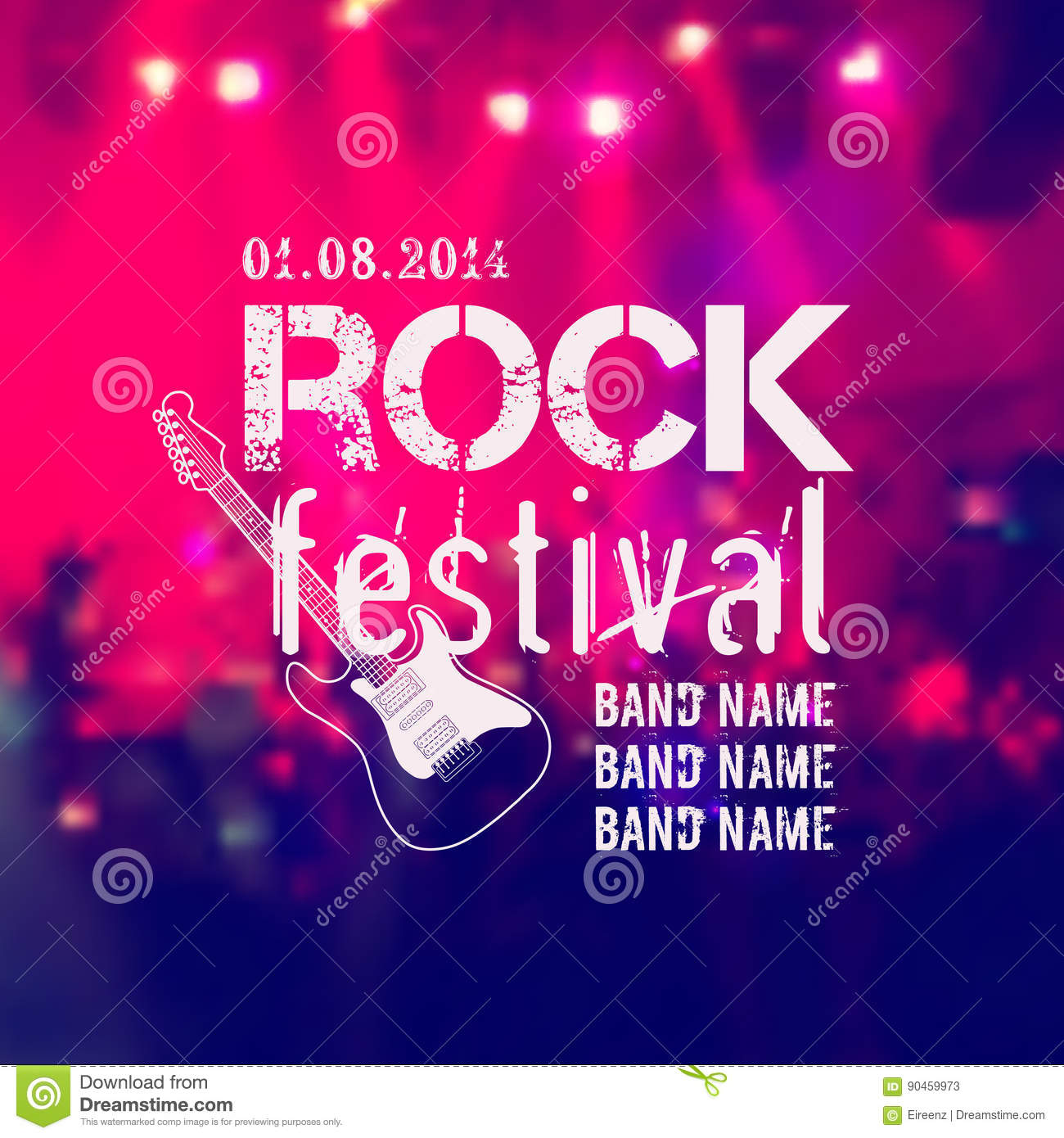 Vector blurred background with rock stage and crowd