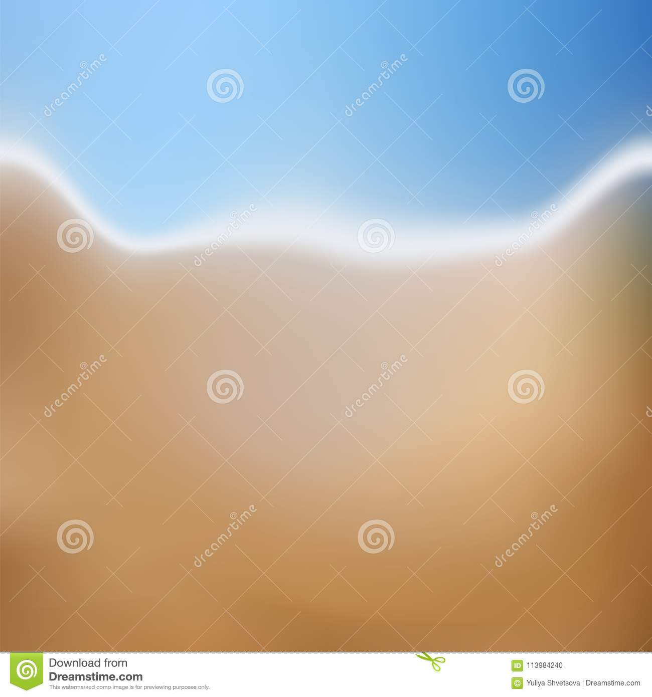 Background Of Blurred Beach And Sea Waves With Bokeh: Vector Blurred Beach And Ocean For Treveling Card, And