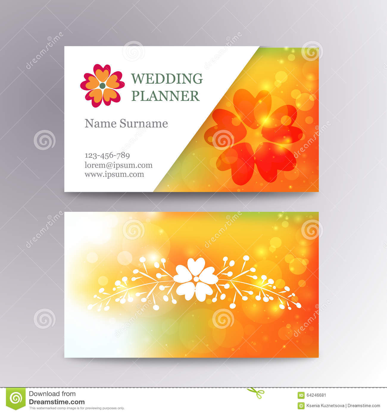 Vector Blurred Business Card Template With Logo Stock Vector