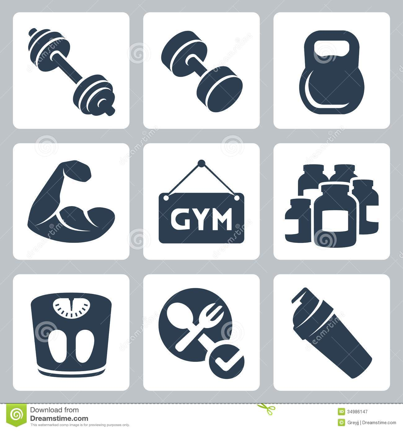 Vector Bodybuilding/fitness Icons Set Stock Vector - Image