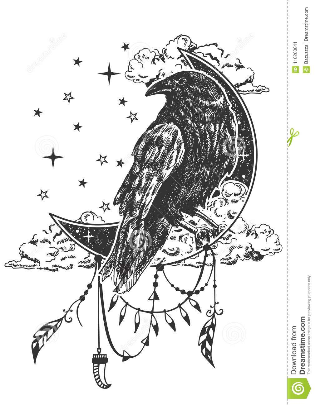 Vector Boho Raven Tattoo Or T Shirt Print Design Stock Vector