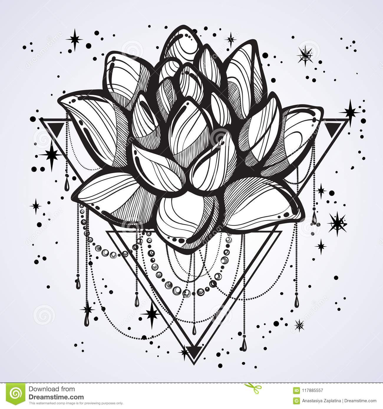 Vector Boho Style Outline Trendy Illustration Isolated Lotus Flower