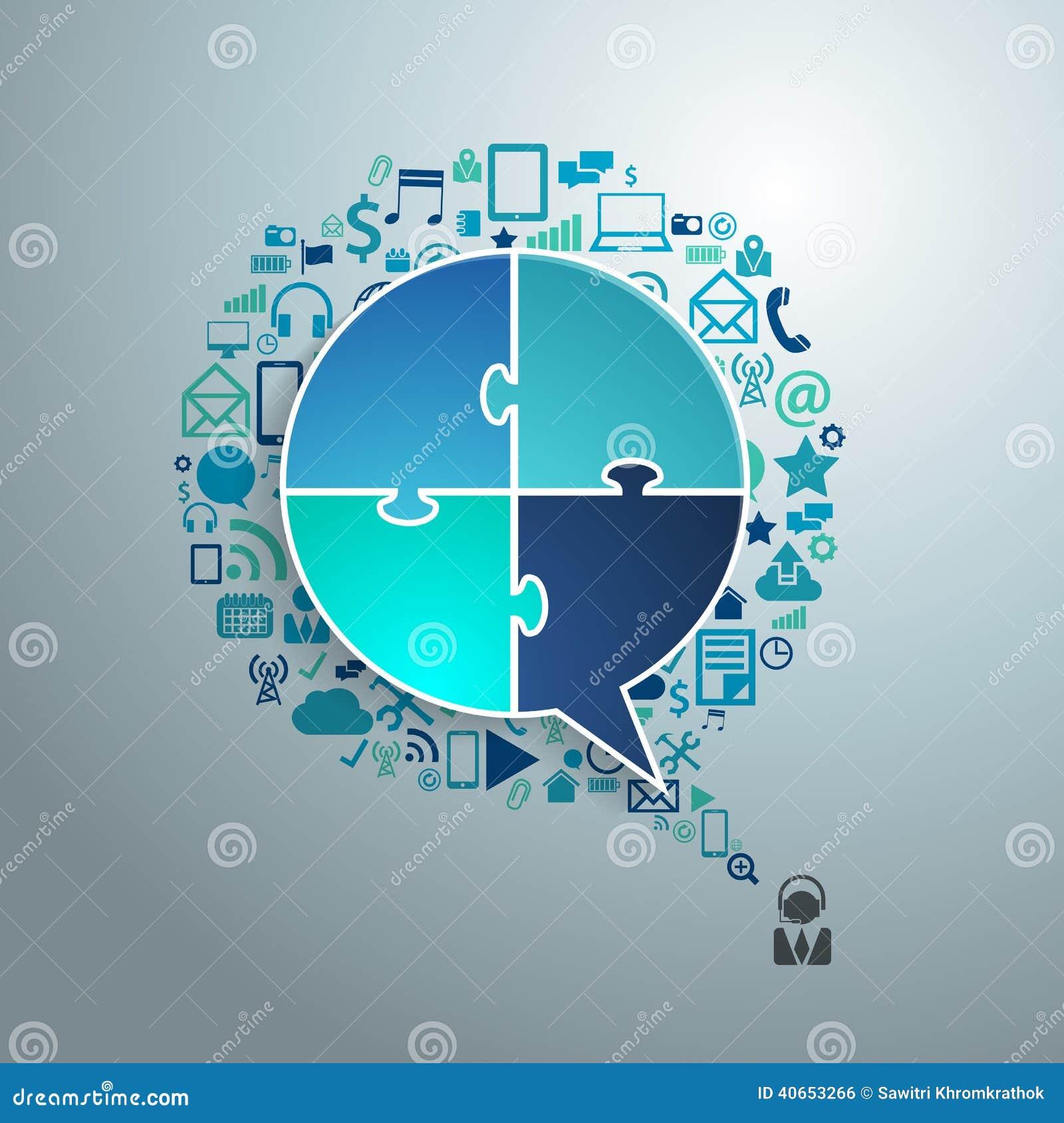 Vector a bolha do discurso do negócio da tecnologia dos ícones da aplicação