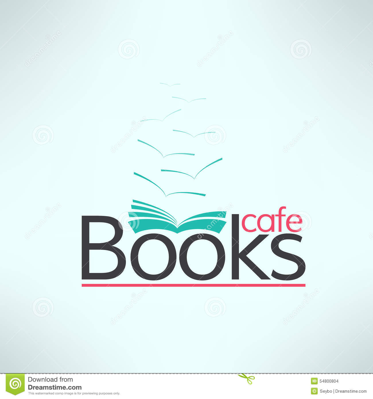 vector books cafe logo in modern flat design book stock