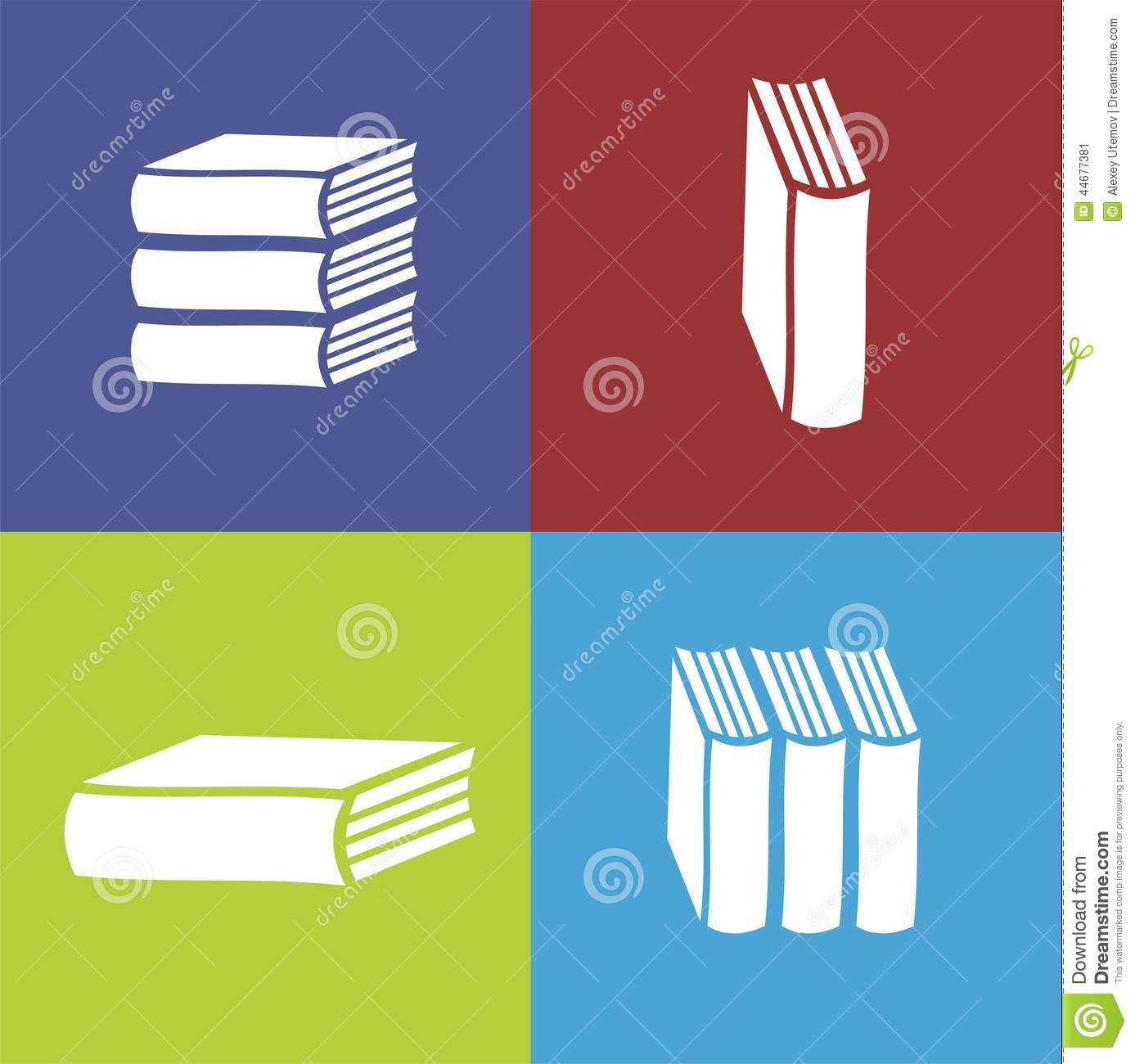 Vector Books Flat Icon On Color Background Stock Illustration ...