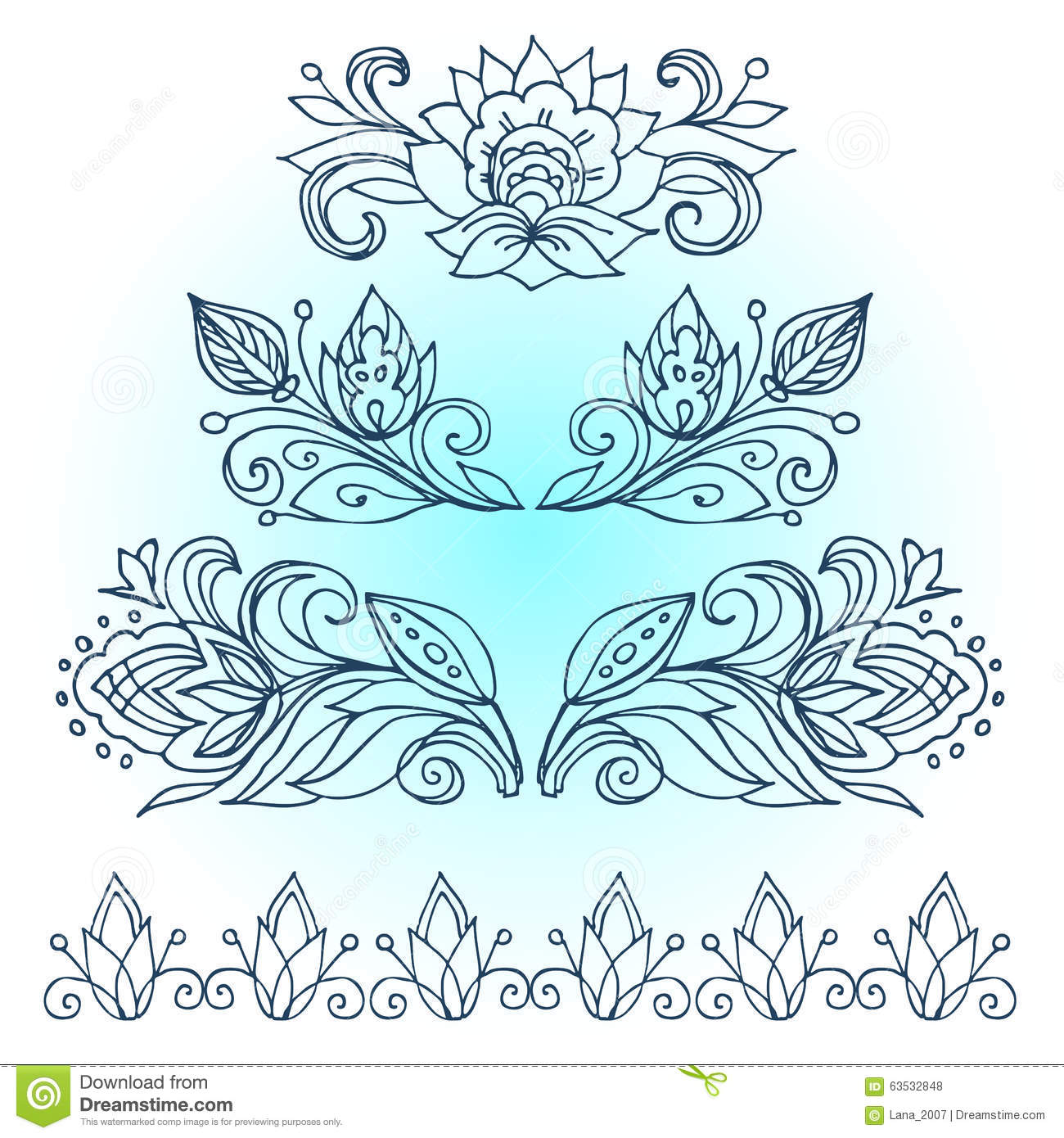 Christmas Flower Line Drawing : Vector border the artwork line drawings of floral ornament