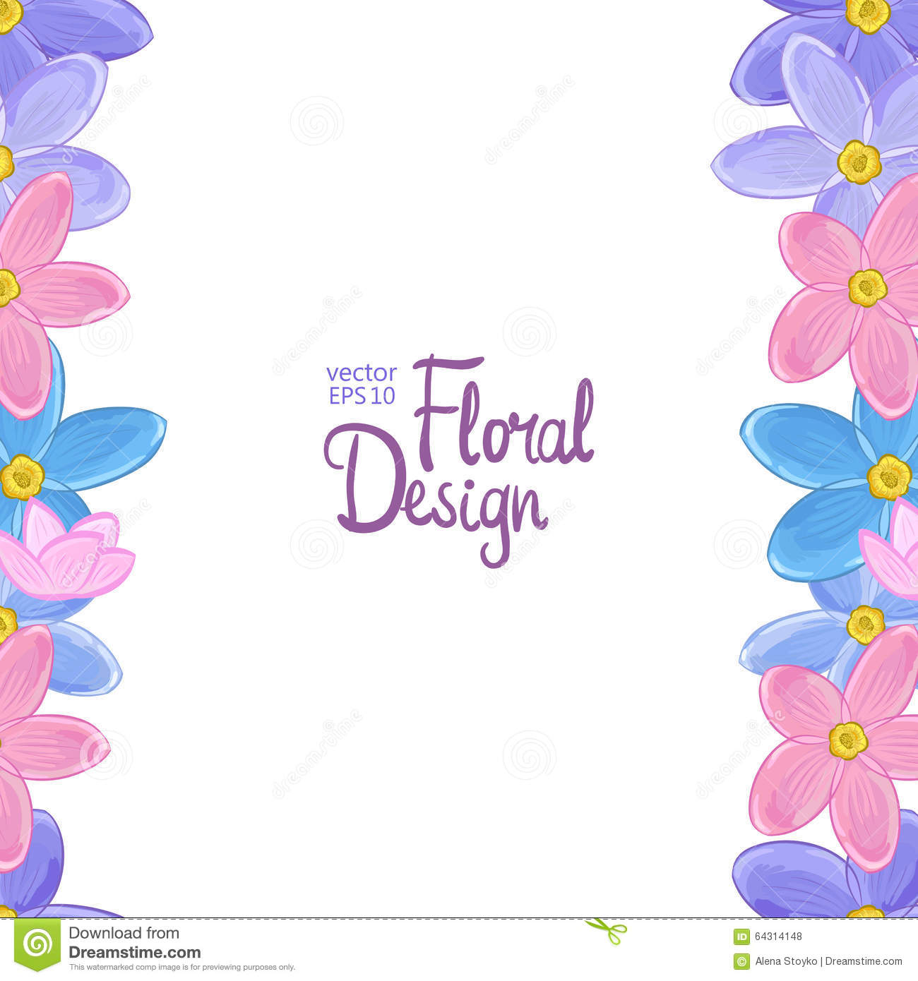 Vector Border With Forget-me-not Flowers Stock Vector ...