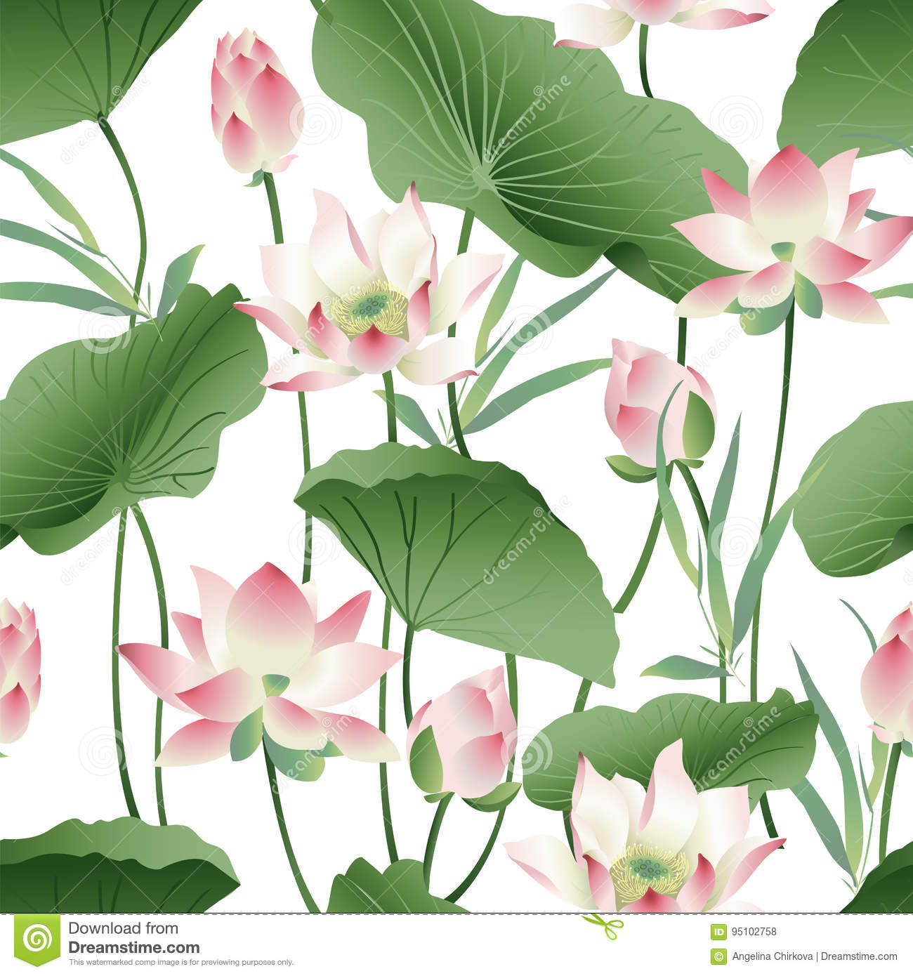Vector Botanical Seamless Pattern With Pink Lotus Flowers Stock
