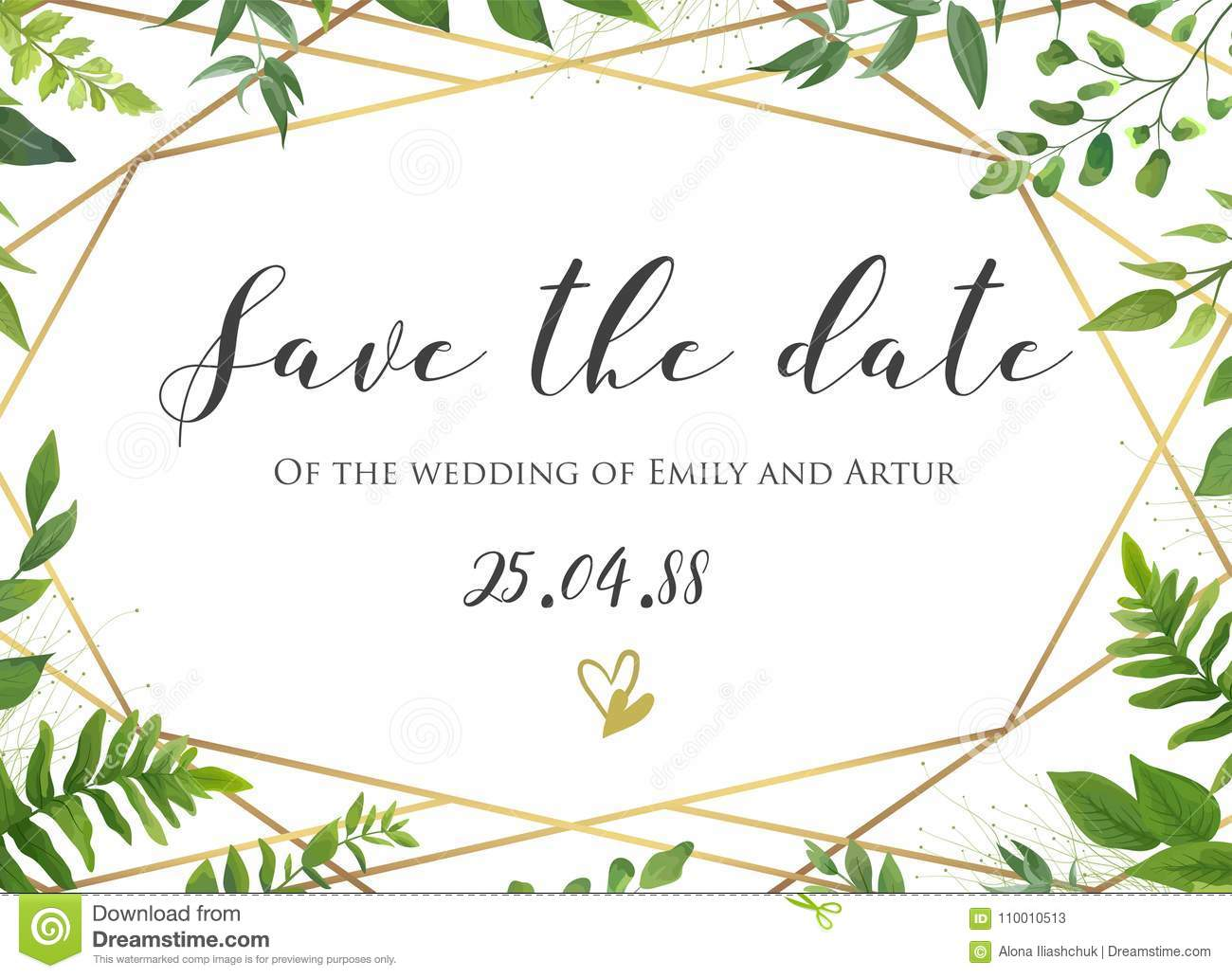 Vector botanical Wedding floral save the date, invite card elegant, modern design with natural forest green fern leaves, greenery