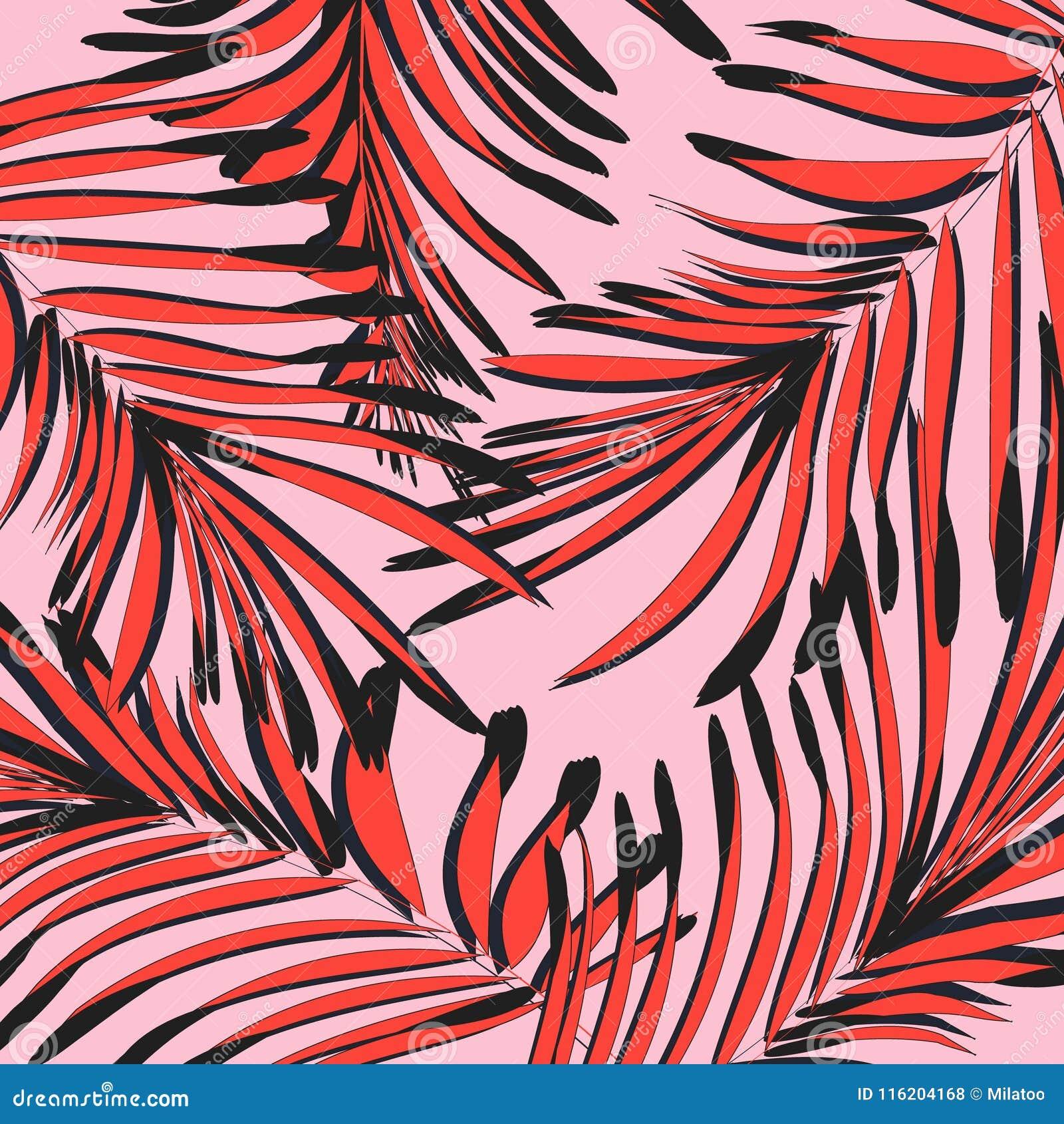 Vector botanisch de zomerpatroon in rozerode kleuren Bladtextuur met tropische decoratie Gebladerte exootic grafisch
