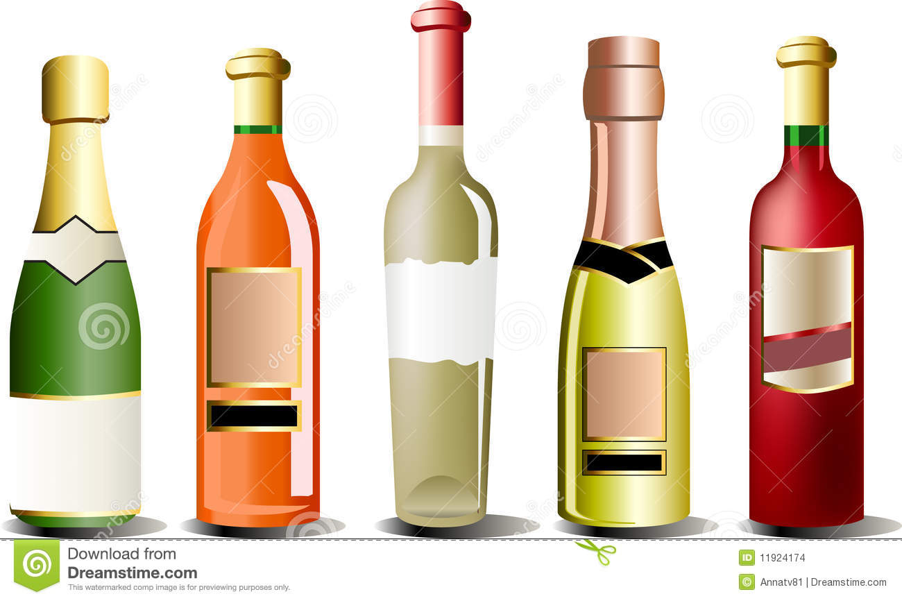 Vector Bottles Of Alcohol Stock Images