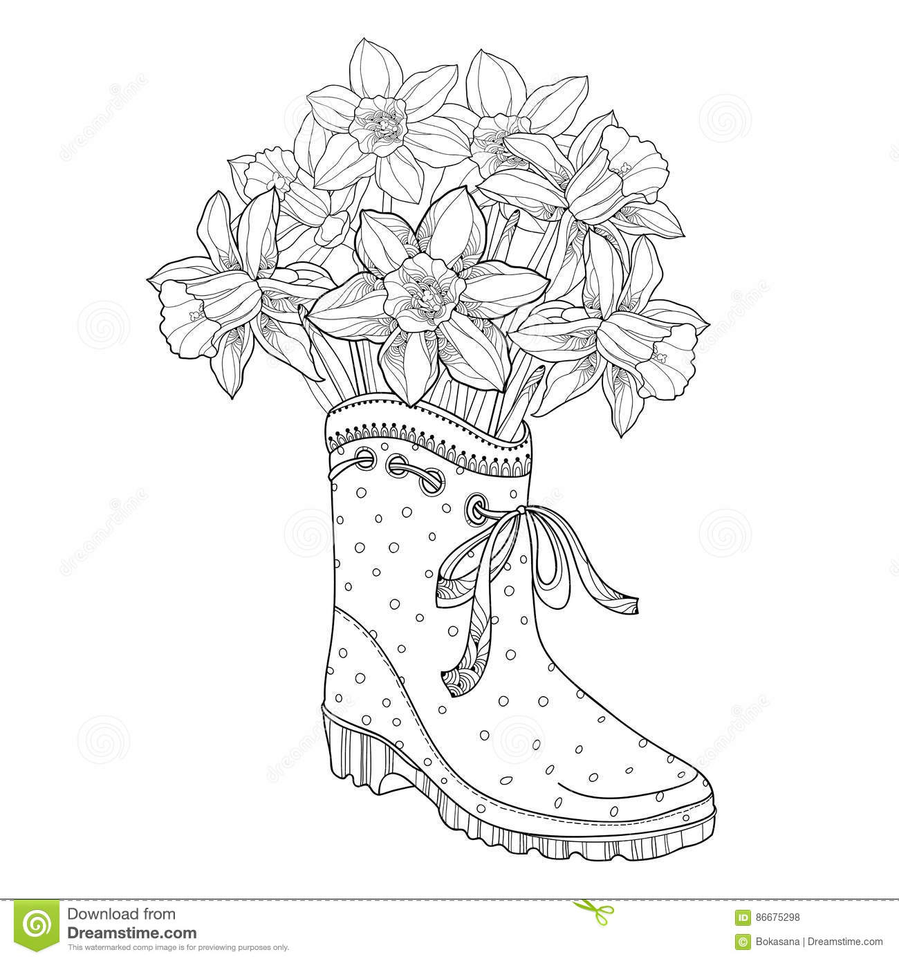 Vector Bouquet With Outline Narcissus Or Daffodil Flower In The