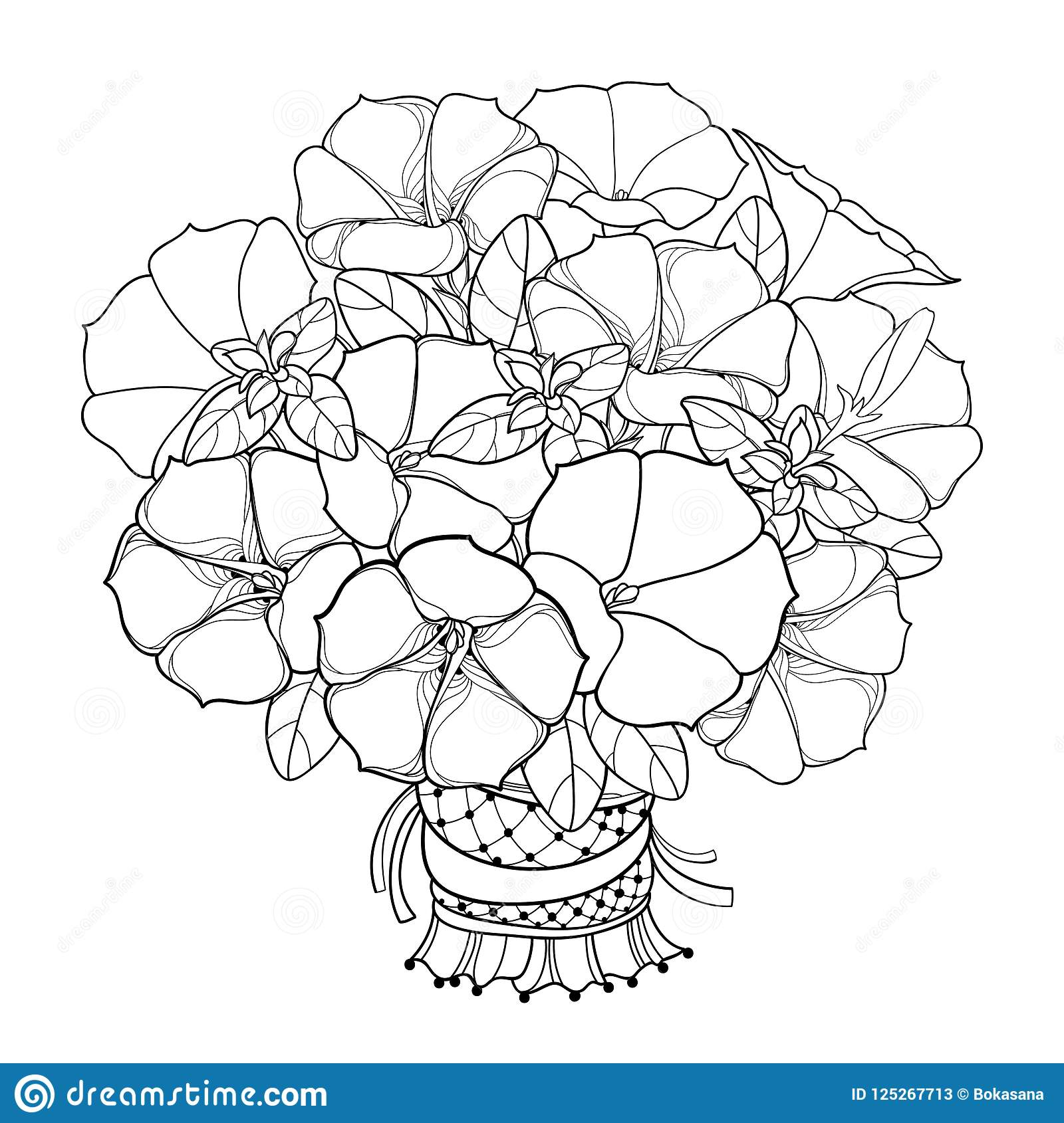 Vector bouquet with outline petunia flower ornate leaf and bud in download vector bouquet with outline petunia flower ornate leaf and bud in black isolated on izmirmasajfo