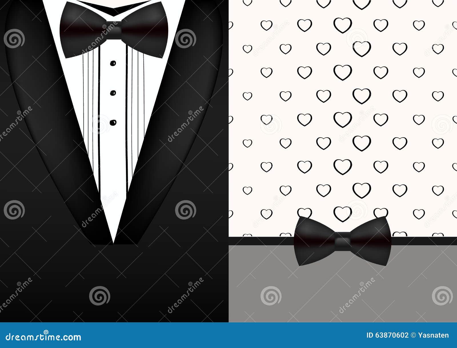 vector bow tie tuxedo invitation design template stock vector