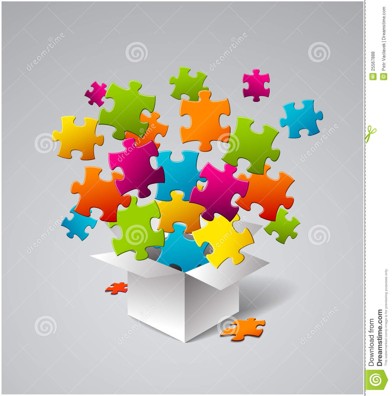 Vector Box Full Of Colorful Puzzles Royalty Free Stock