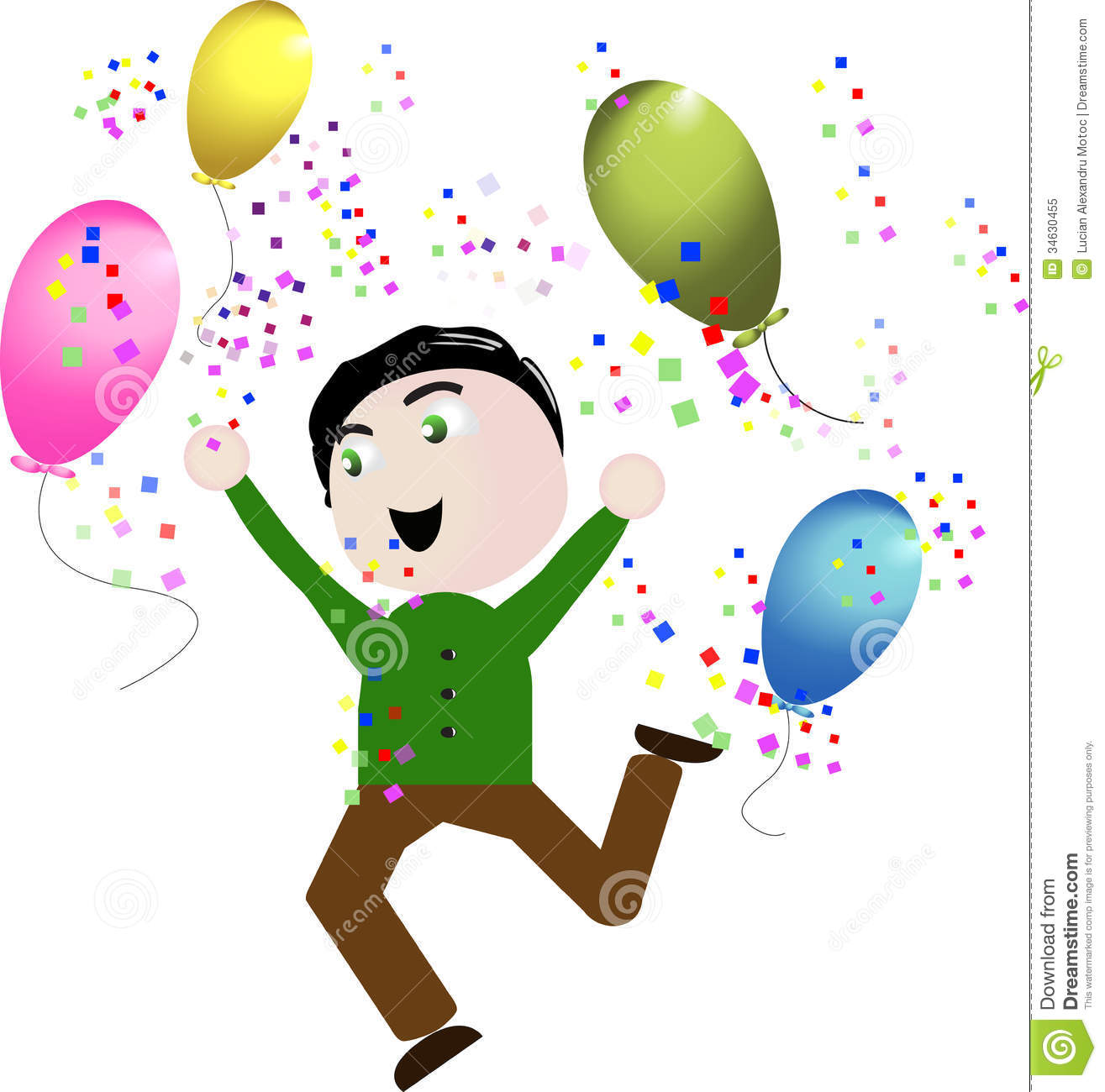 Celebration - Vector Boy Happy Celebration Balloons