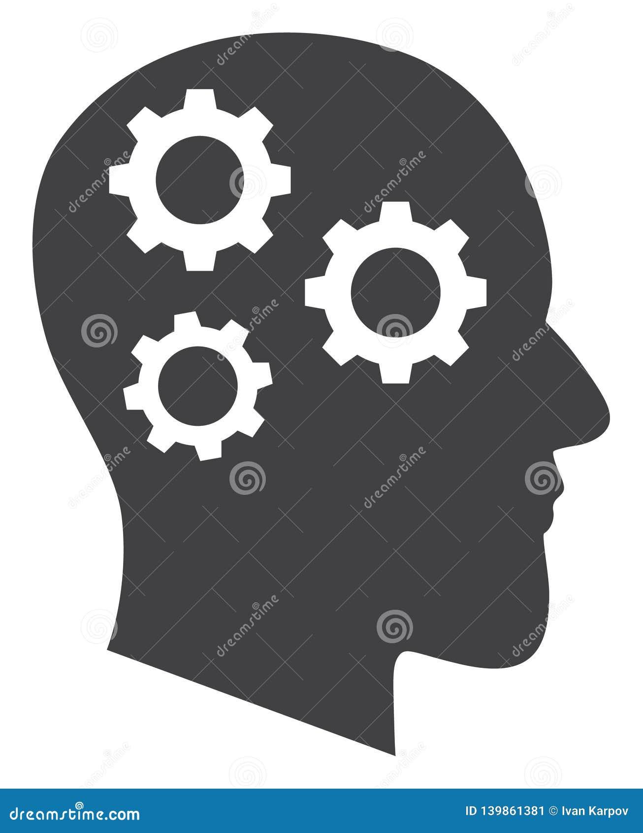 Vector Brain Gears Icon