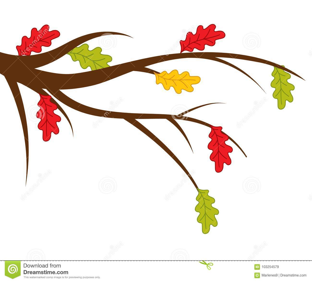Vector Branch with Autumn Oak Leaves