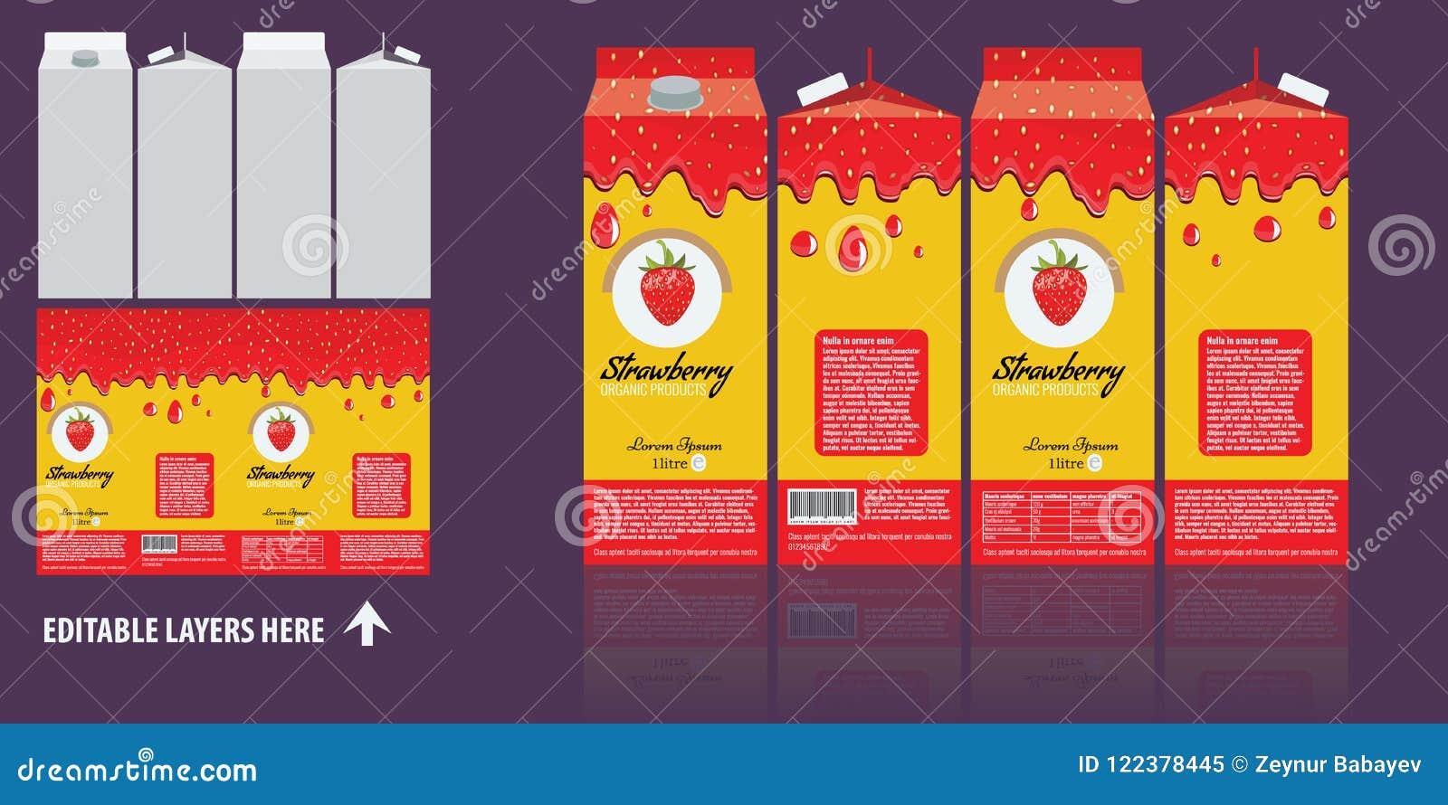vector branding package design strawberry juice package box design